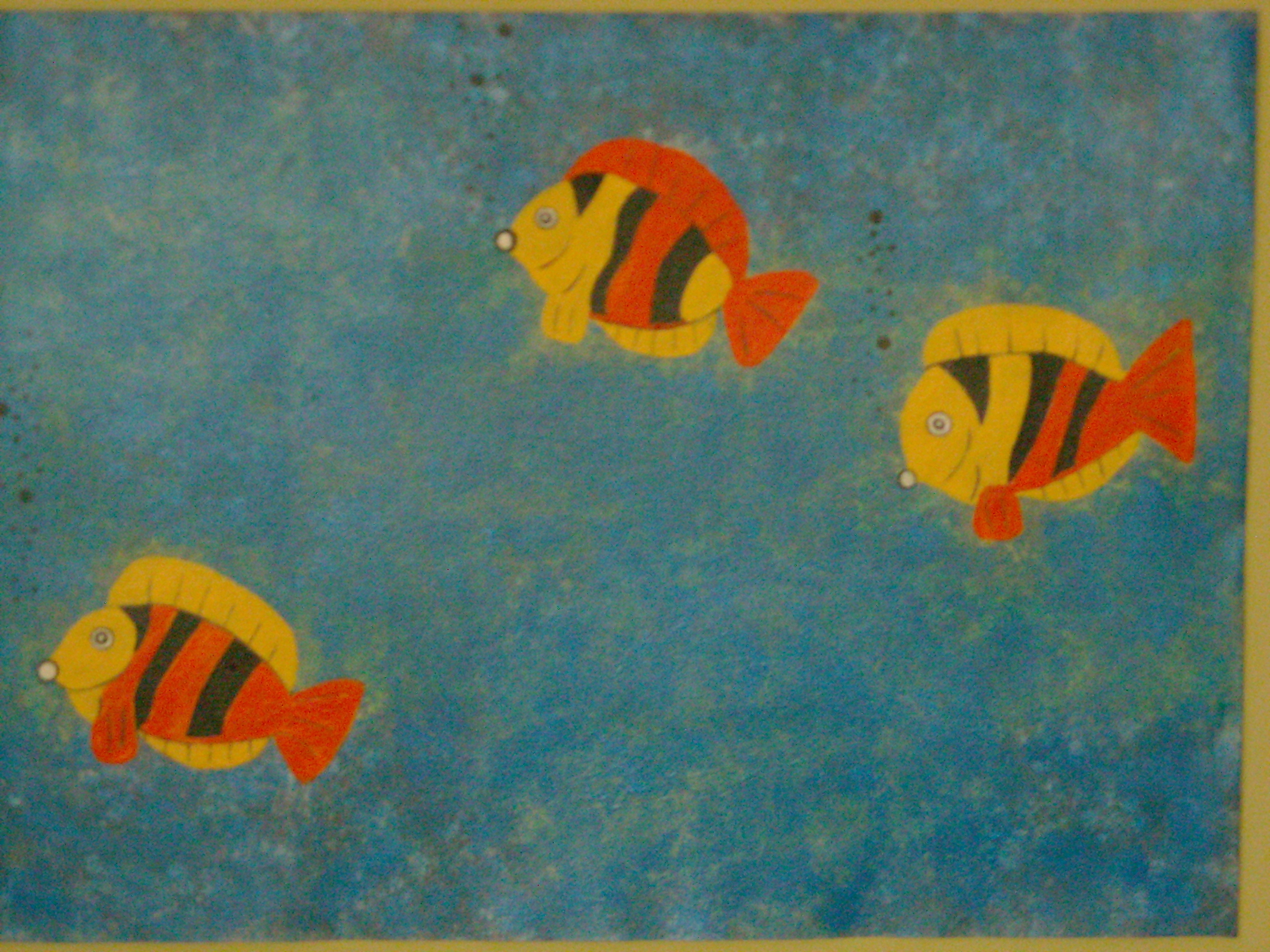 3 Fish, floor cloth, 2x3, $65