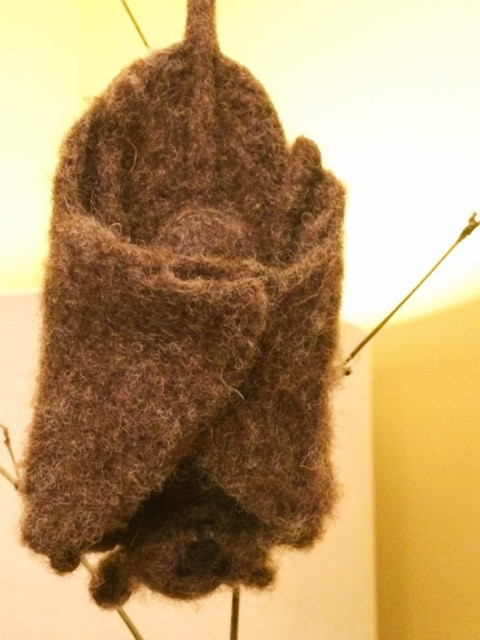 Fruit Bat, wool sculpture, 3x6x1 with folded wings, wing span 7in, $39