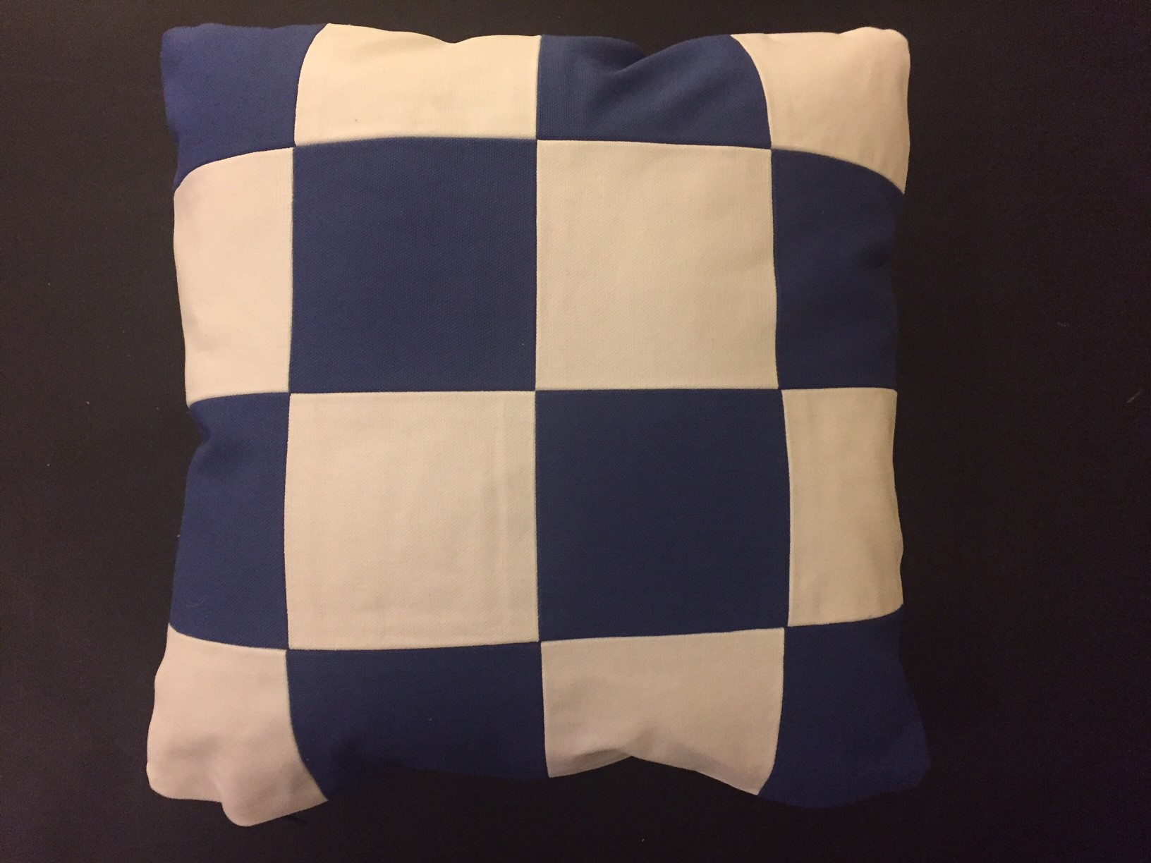 Closeup of N Navy and White Squares Nautrical Throw Pillow
