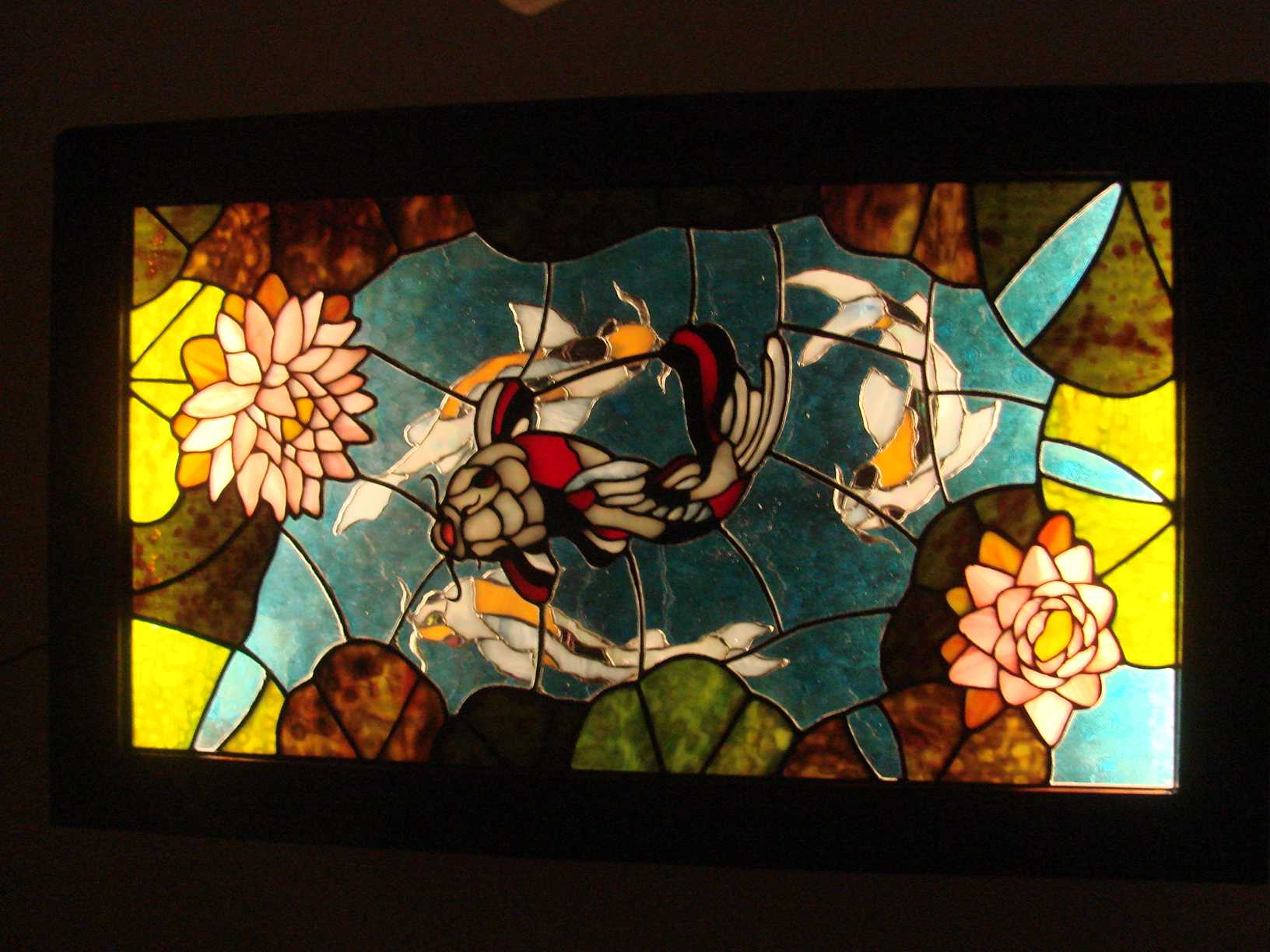 Koi Pond, LED lighted, 3D stained glass in antique wood showcase, 3ft h x 1ft,10in w x 4in deep