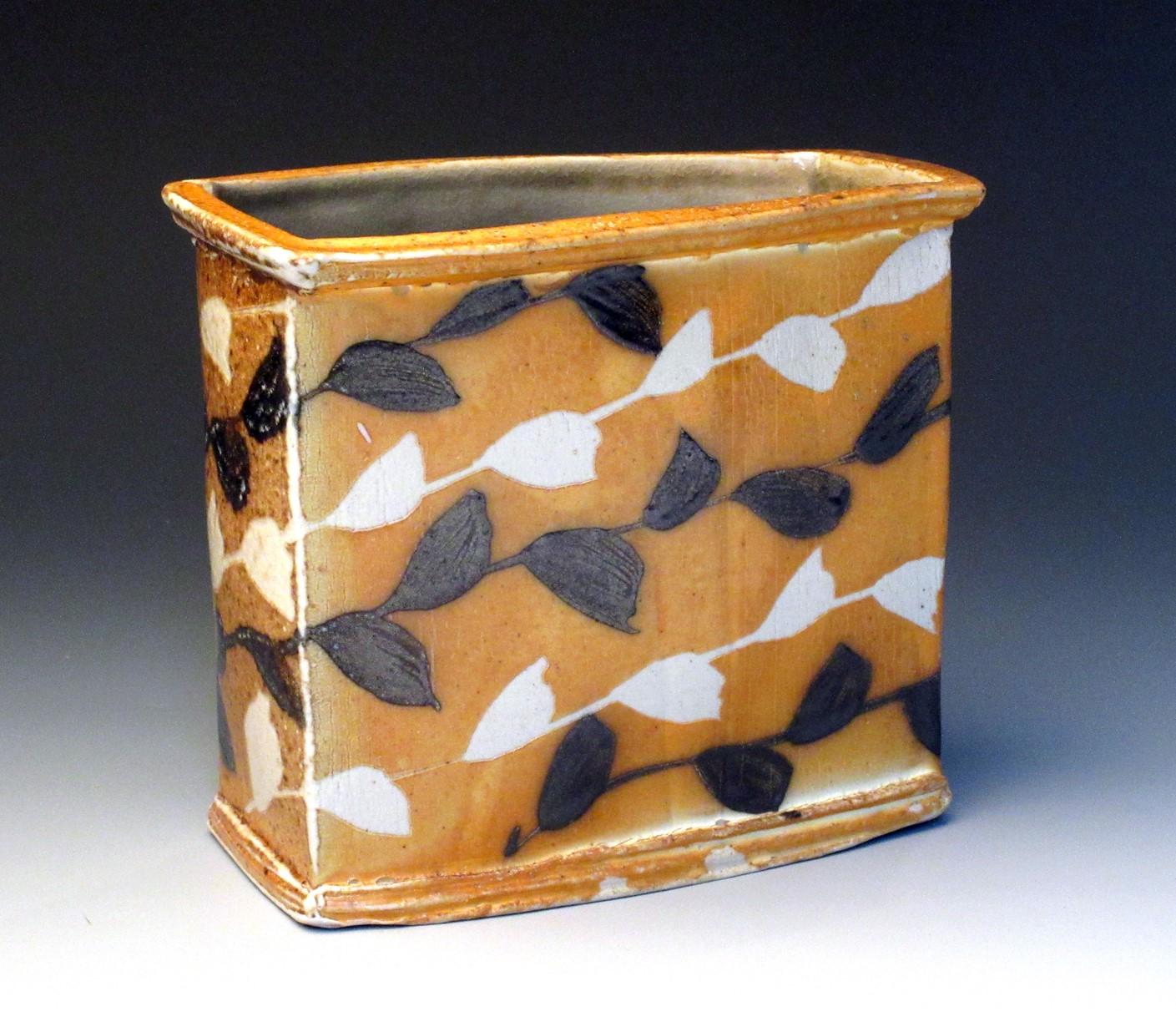 Rectangular Vase, hand built stoneware, black slip, resist brushwork, 8in h