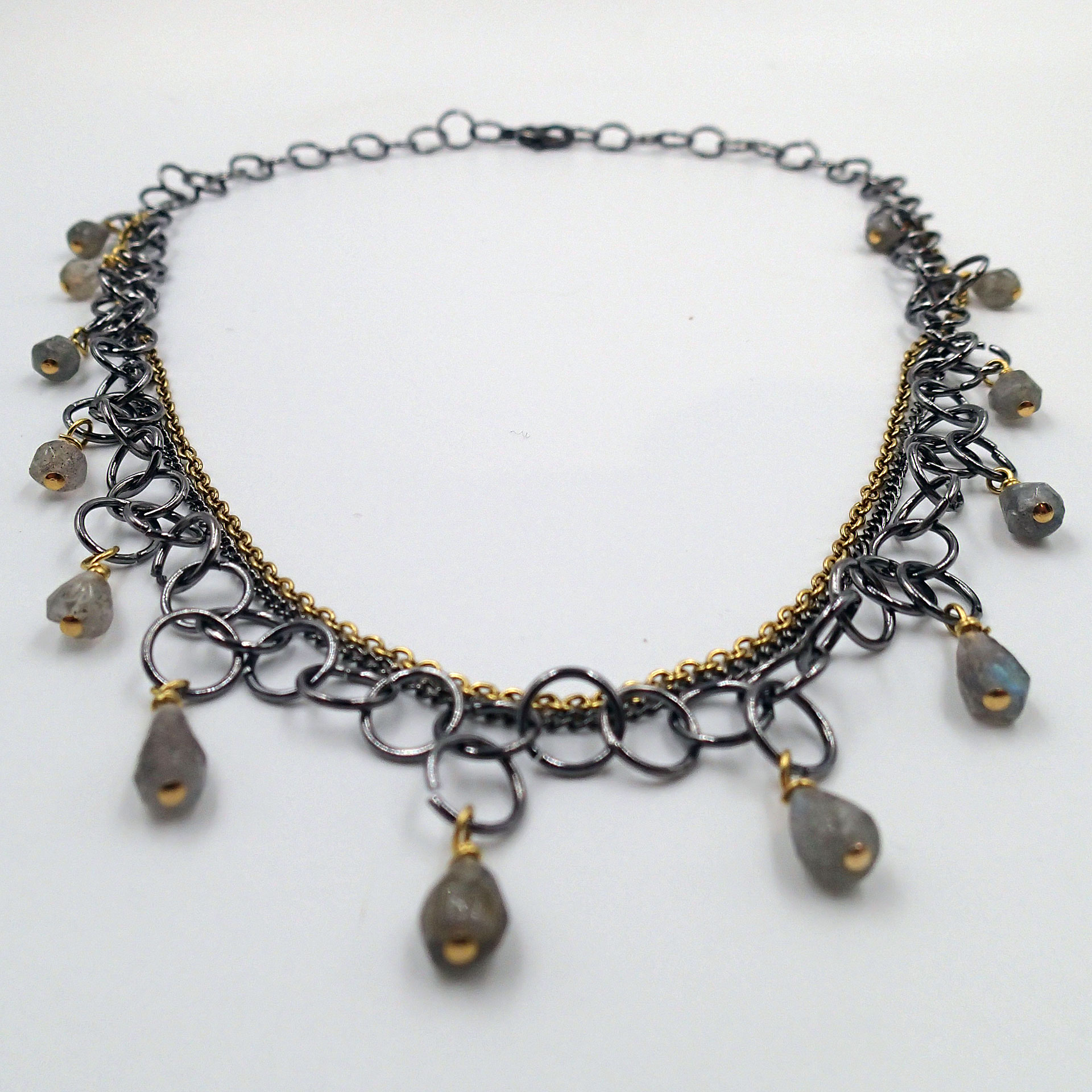 Hoopla Necklace, labradorite beadsm handmade chain, 18in L. Can be worn as choker