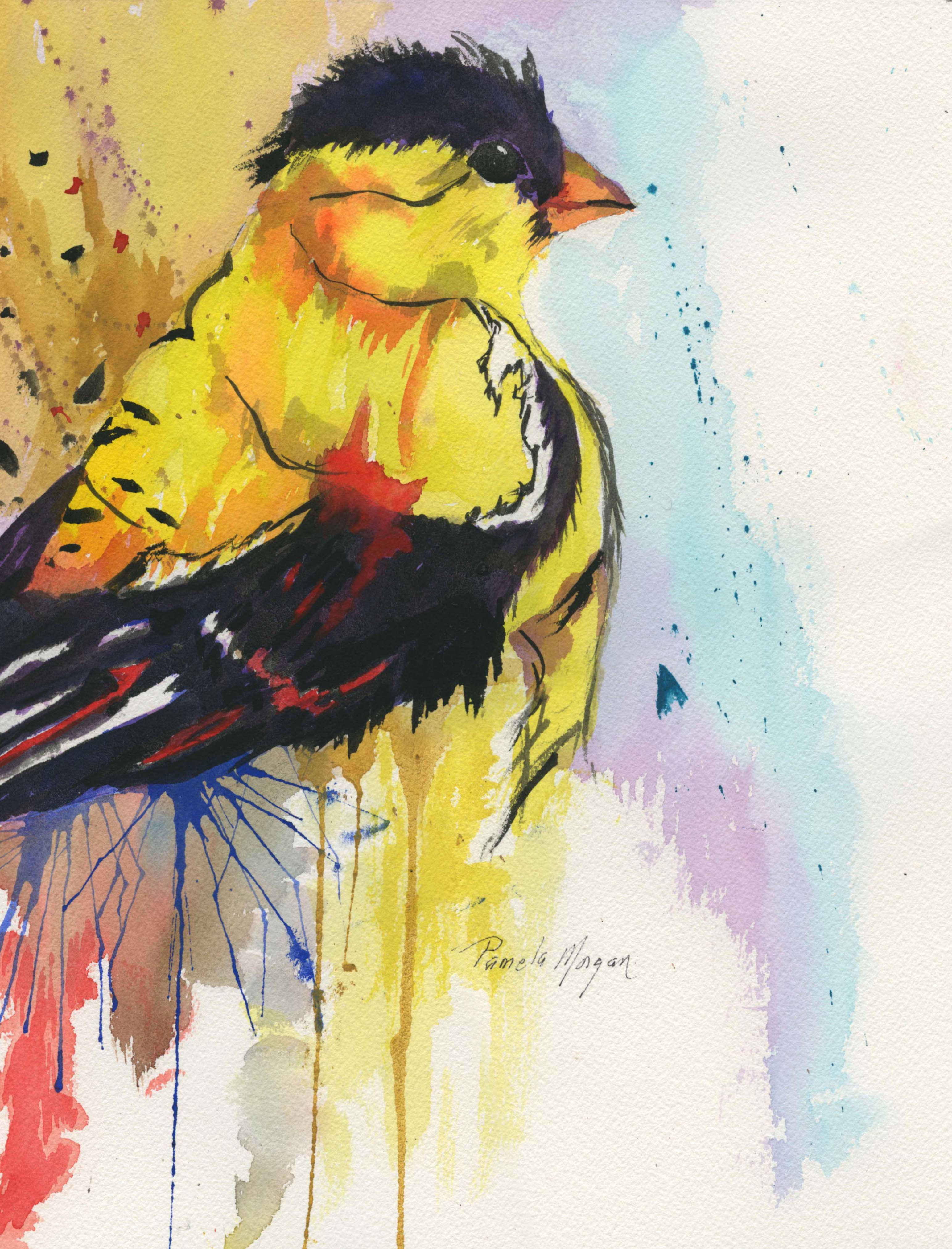 Goldfinch, Watercolor, 18 x 21 burled wood frame