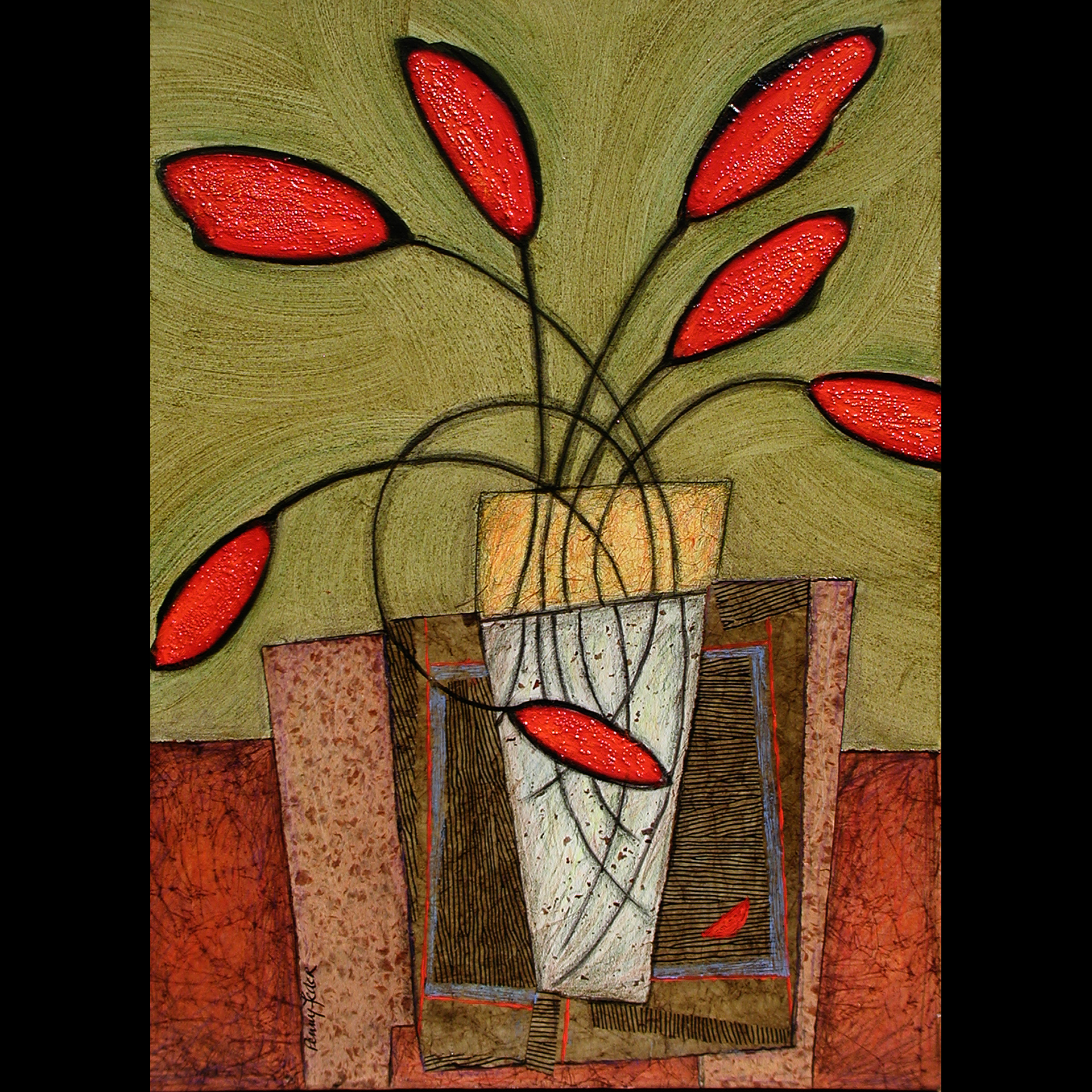 Jess's-Red-Tulips-on-Table, mixed media collage on canvas, 36x24