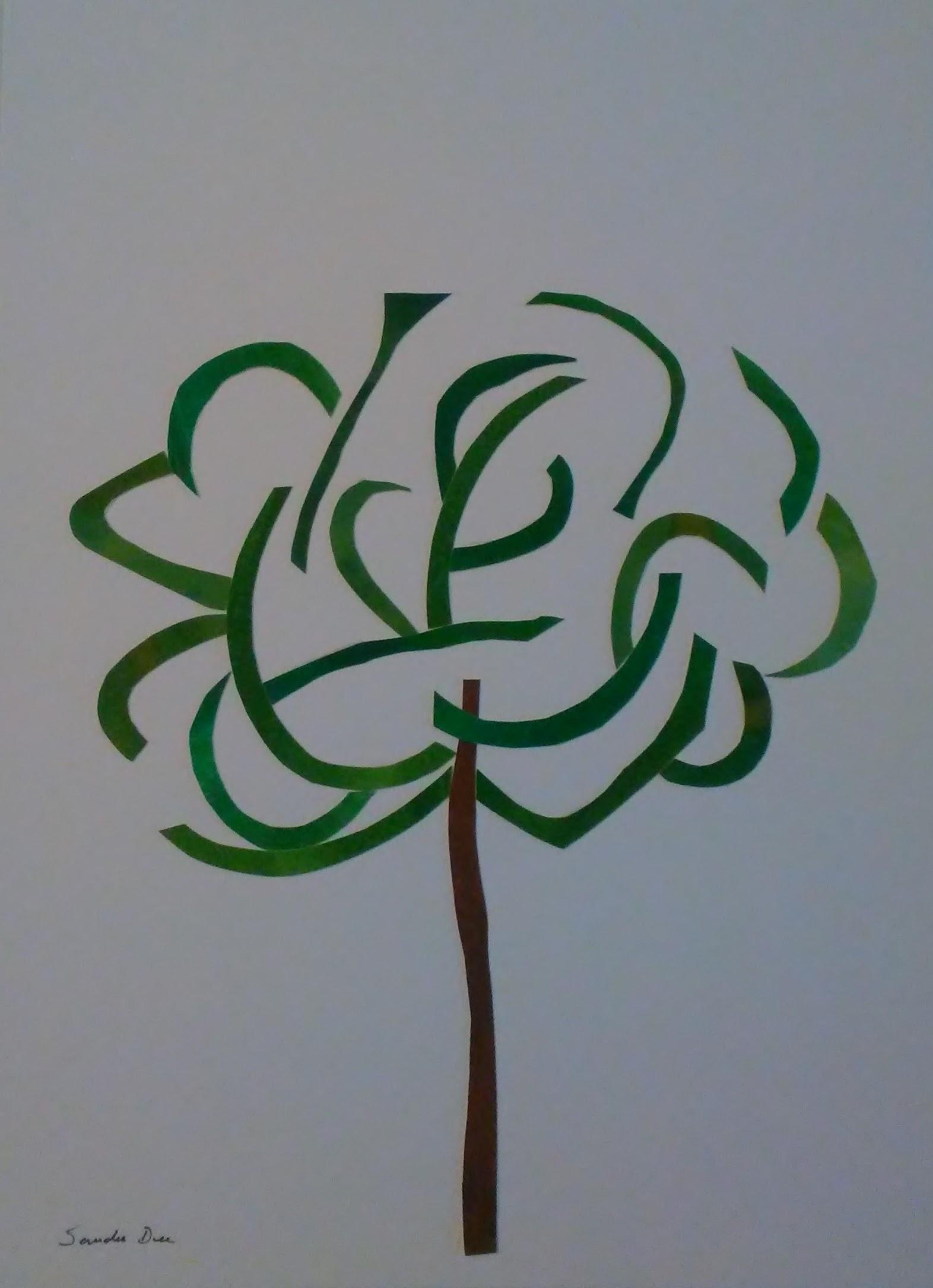 Green Tree, collage, 11x14