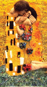 Klimt Kissed, needle felt wall hanging, Laura Lyons
