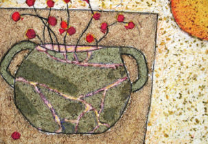 Red Berries in Pot, mixed media